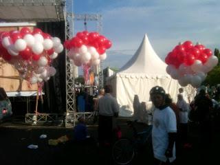 Dekorasi balon gas pelepasan dinas kesehatan DKI