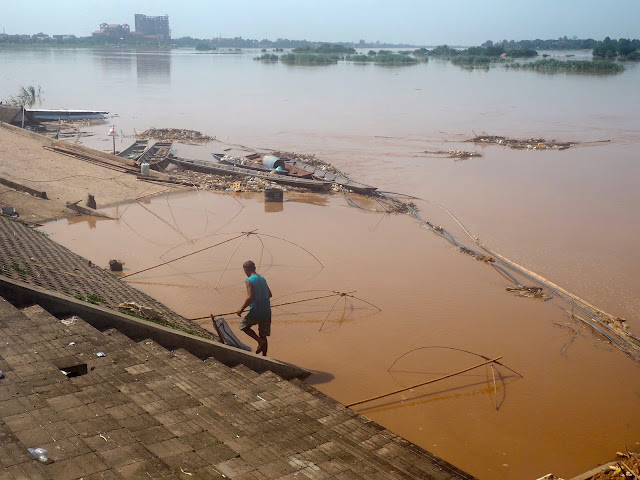 Fishing in the Mekong river in Vientiane, Laos