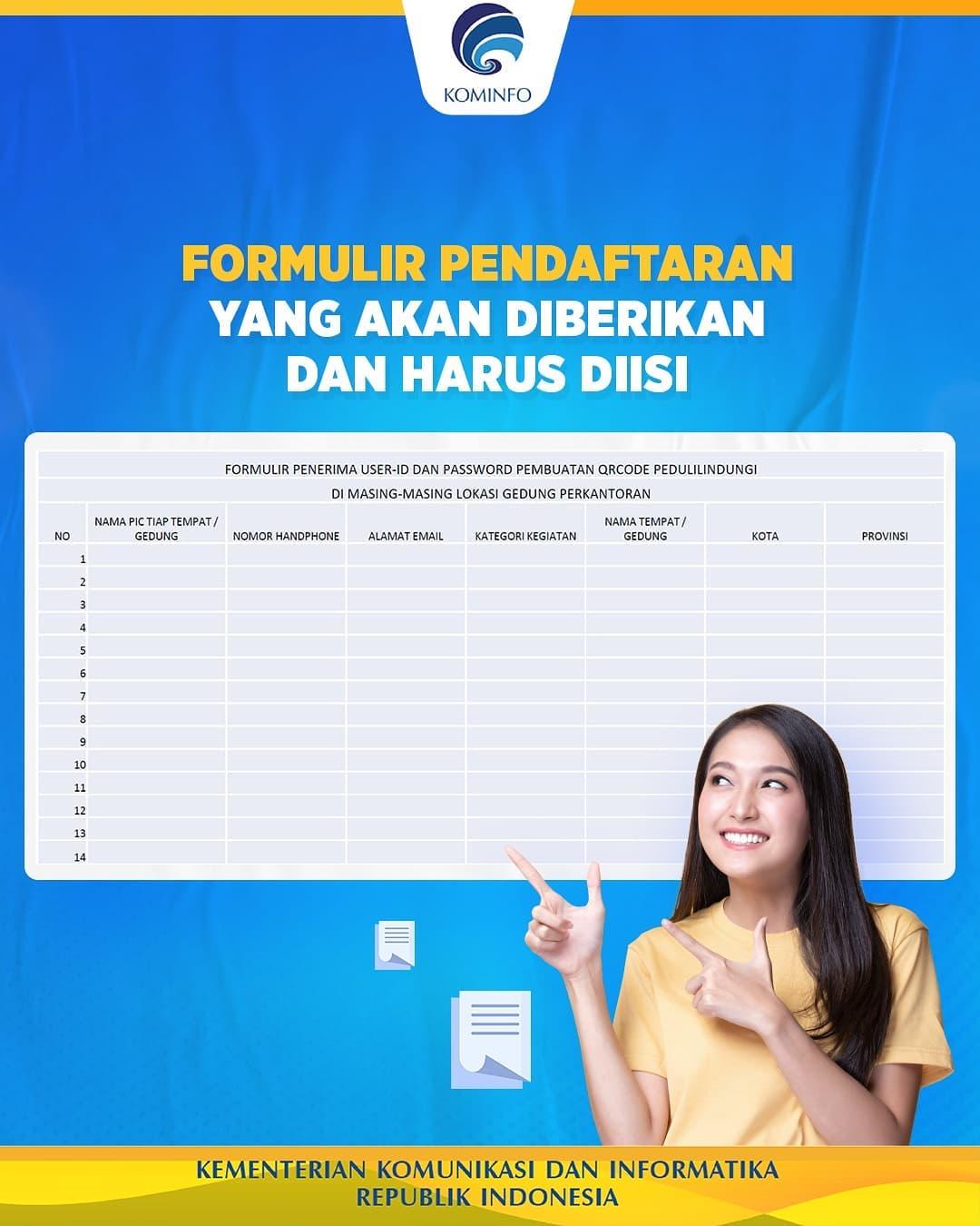 Formulir QR Code Check In Pedulilindungi