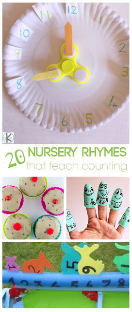 20 fun, creative Nursery Rhymes activities that each counting for toddlers, for kindergarten, printables, and nursery rhymes activities for preschoolers. Fun counting activities for kindergarten, homeschoolers, summer learning, math centers, and more.