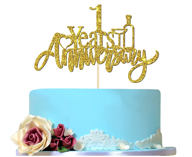 gold 1 year anniversary cake topper