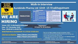ITI/ Diploma/ Degree /B. Pharm/M. Pharm Jobs vacancy Walk In Interview For Aurobindo Pharma Ltd