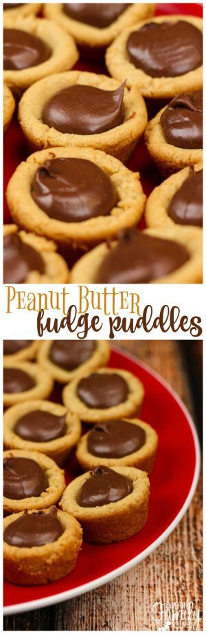 Peanut Butter Fudge Puddles are a chewy peanut butter cookie cup with a chocolatey fudge filling. They are like a reverse Reese's Peanut Butter Cup! #peanutbuttercookies #fudgefilling #peanutbutterandchocolate