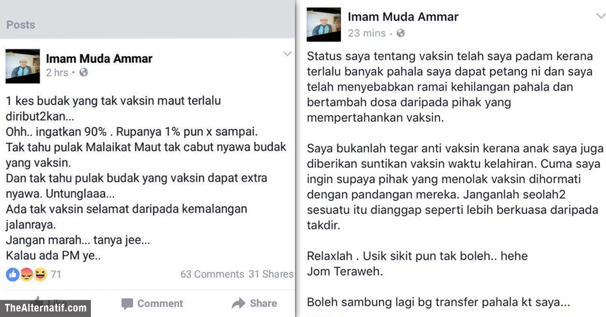 Buang Title 'Imam Muda', Ammar mohon maaf secara terbuka