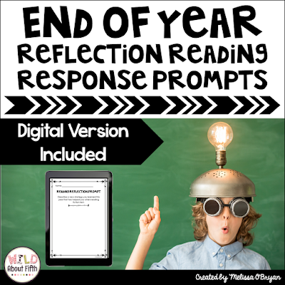 end of the year reading reflection journal response prompts