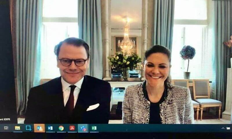 Crown Princess Victoria wore a grey wool tweed jacket from Mayla Stockholm, and black sweater