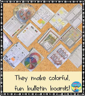 Colorful games make great bulletin boards.