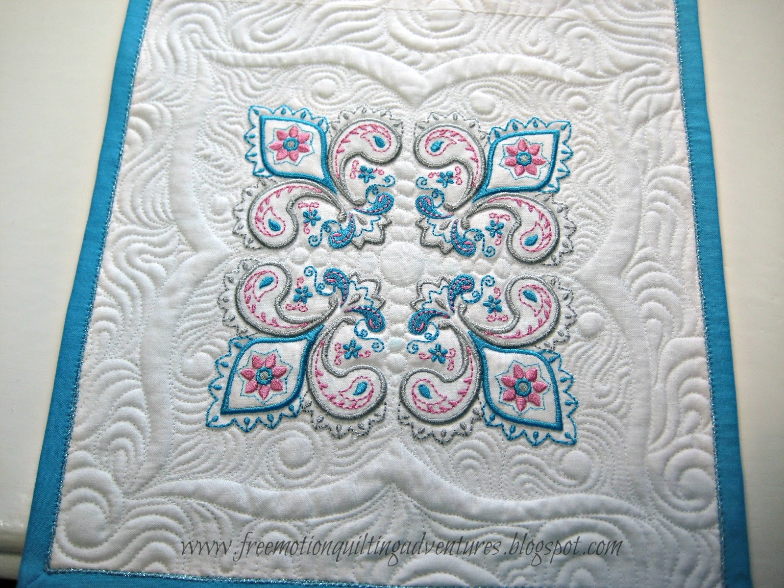 free motion quilting embroidered blocks
