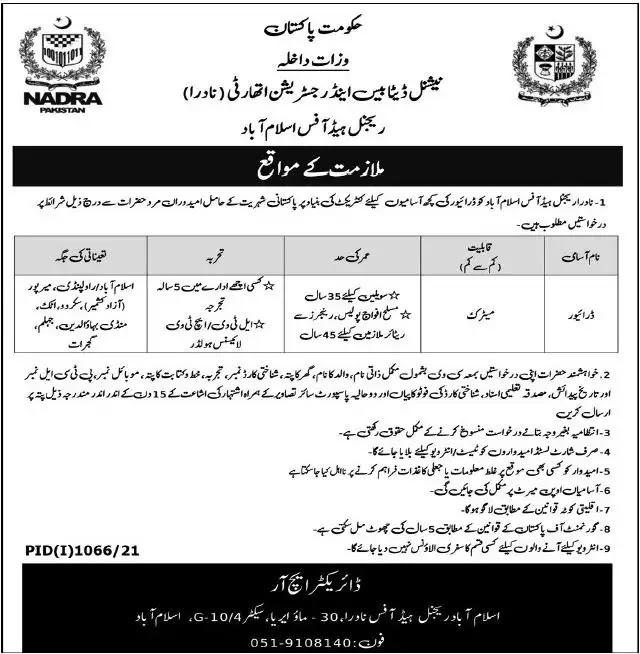 NADRA Islamabad Jobs 2021