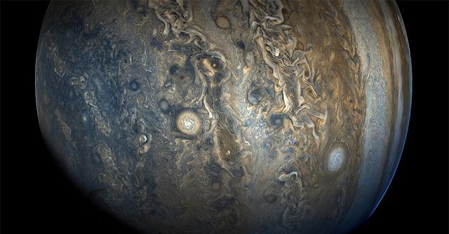 Jupiter's southern hemisphere photographed by NASA probe Juno. (Image: NASA/JPL-Caltech/SwRI/MSSS/Gerald Eichstädt/ Seán Doran)