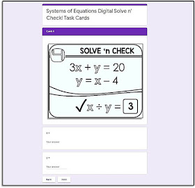 I want to do my part to support your efforts in finding ways to send interactive math activities to your students from afar. So I have been building a library of Google math activities, which are all updates to existing printable math activities.    In this post I show what the updated partner scavenger hunts look like on Google Slides and solve 'n check! math tasks look like on Google Forms.