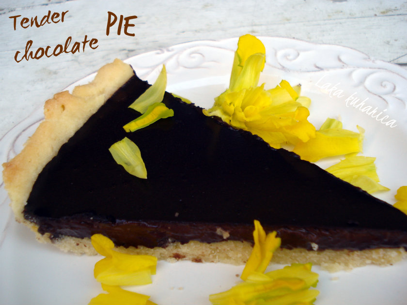 Tender chocolate pie  by Laka kuharica: flaky, creamy and darkly delicious this pie simply melts in your mouth.