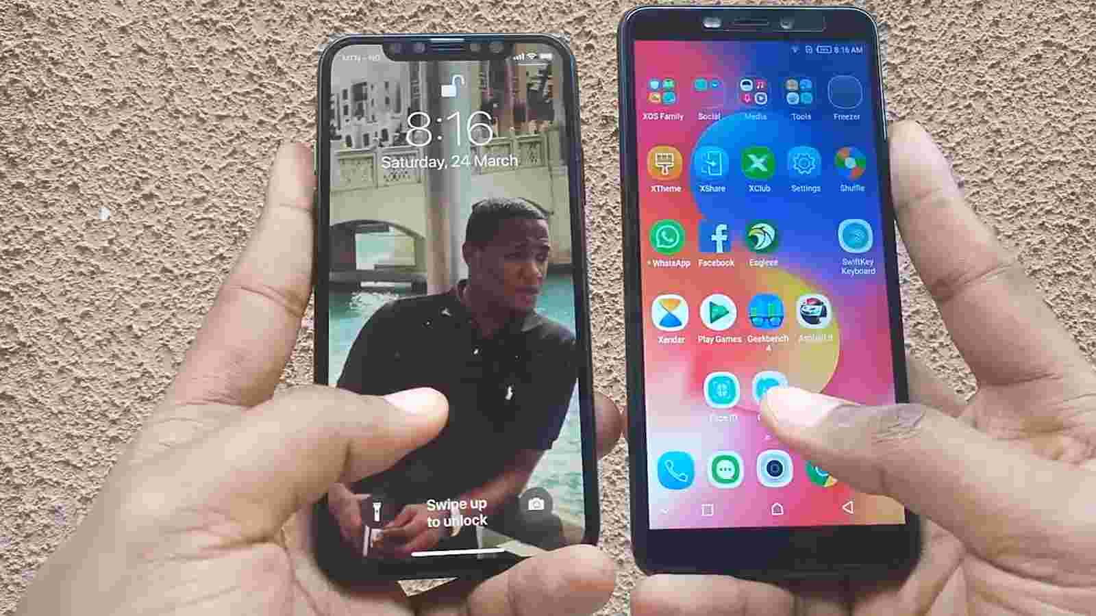 side by side, Infinix Hot S3 and the iPhone X