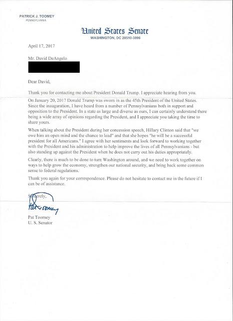 Senator Pat Toomey Has Responded!
