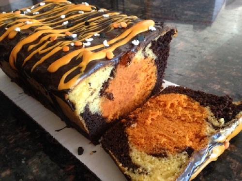 chocolate pumpkin surprise marble cake