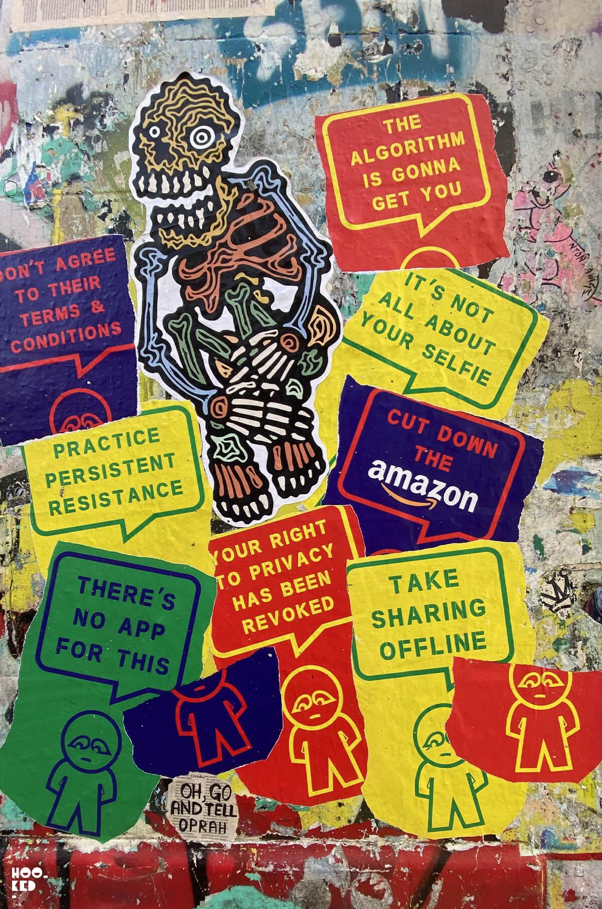 England-London-Brick-Lane-Street Art Paste-ups-Seven Star Yard by RX SKull and Subdude