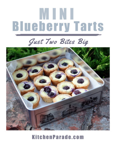 Mini Blueberry Tarts ♥ KitchenParade.com, miniature cheesecake-like tarts baked in a mini muffin pan with a pop of fresh blueberry, a welcome colorful addition to a tray of mini desserts. The press-in crust is easy, so is the sour cream filling.