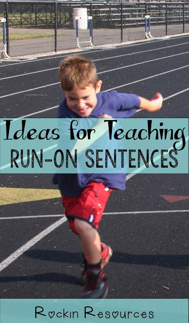 ideas and lesson on how to teach run on sentences and how to fix them.  Anchor chart included.