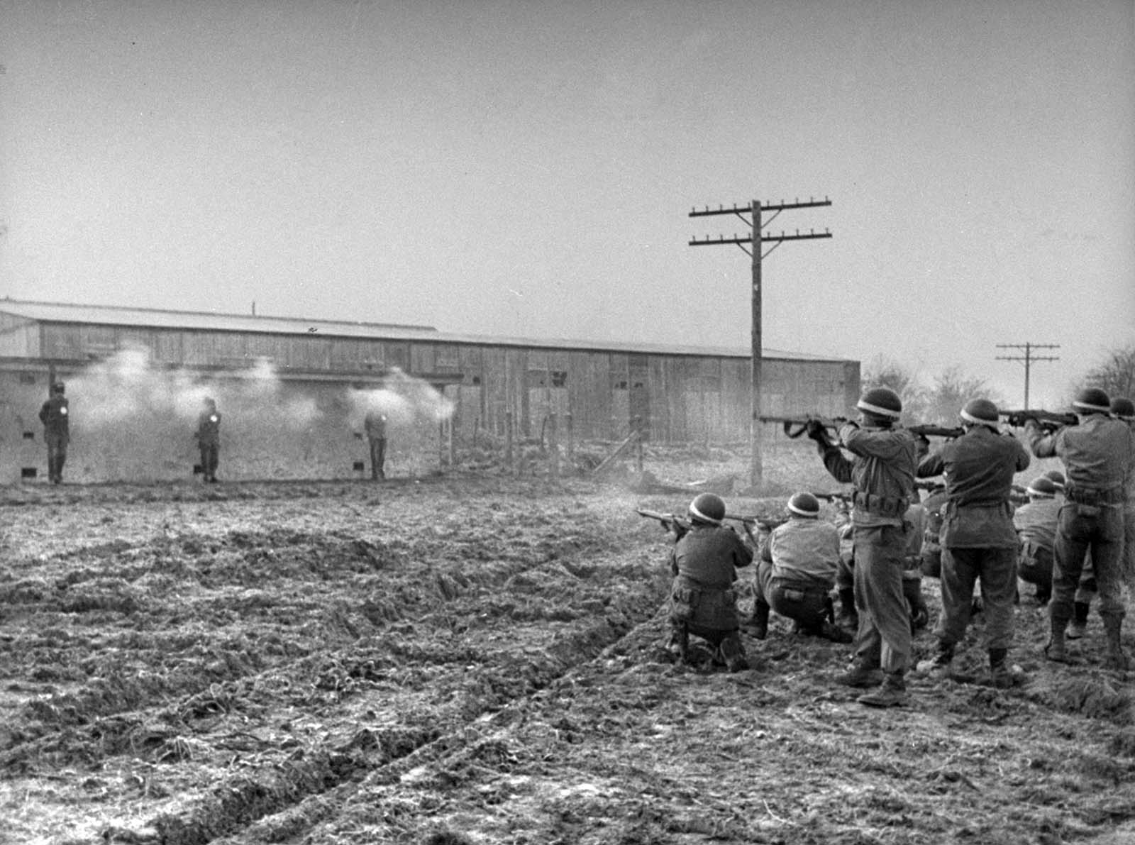 The infiltrators being executed. As a result of this mission, American troops began asking other soldiers questions that they felt only Americans would know the answers to in order to flush out the German infiltrators, which included naming certain states' capitals, sports and trivia questions related to America, etc.