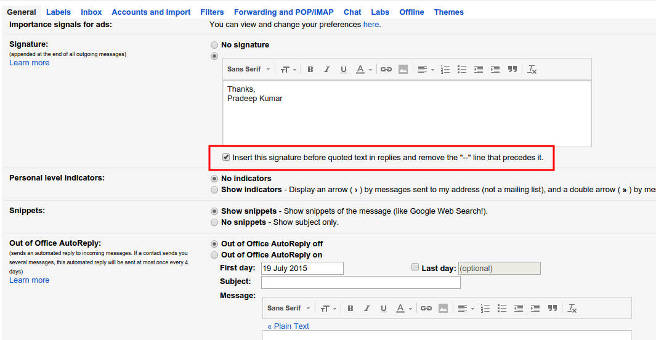 How to add your email signature above Reply/Forward Text PC Tips
