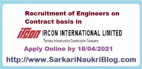 Ircon Contract Engineer Recruitment 2021