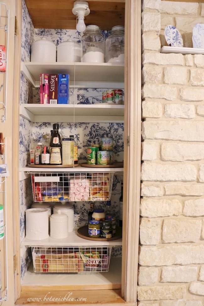French Country Pantry Makeover finished with food on shelves