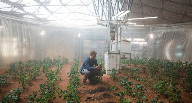 Matt Damon in greenhouse image from The Martian movie