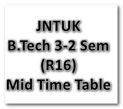 JNTUK B.Tech 3-2 Sem (R16) 2nd Mid Exam Time