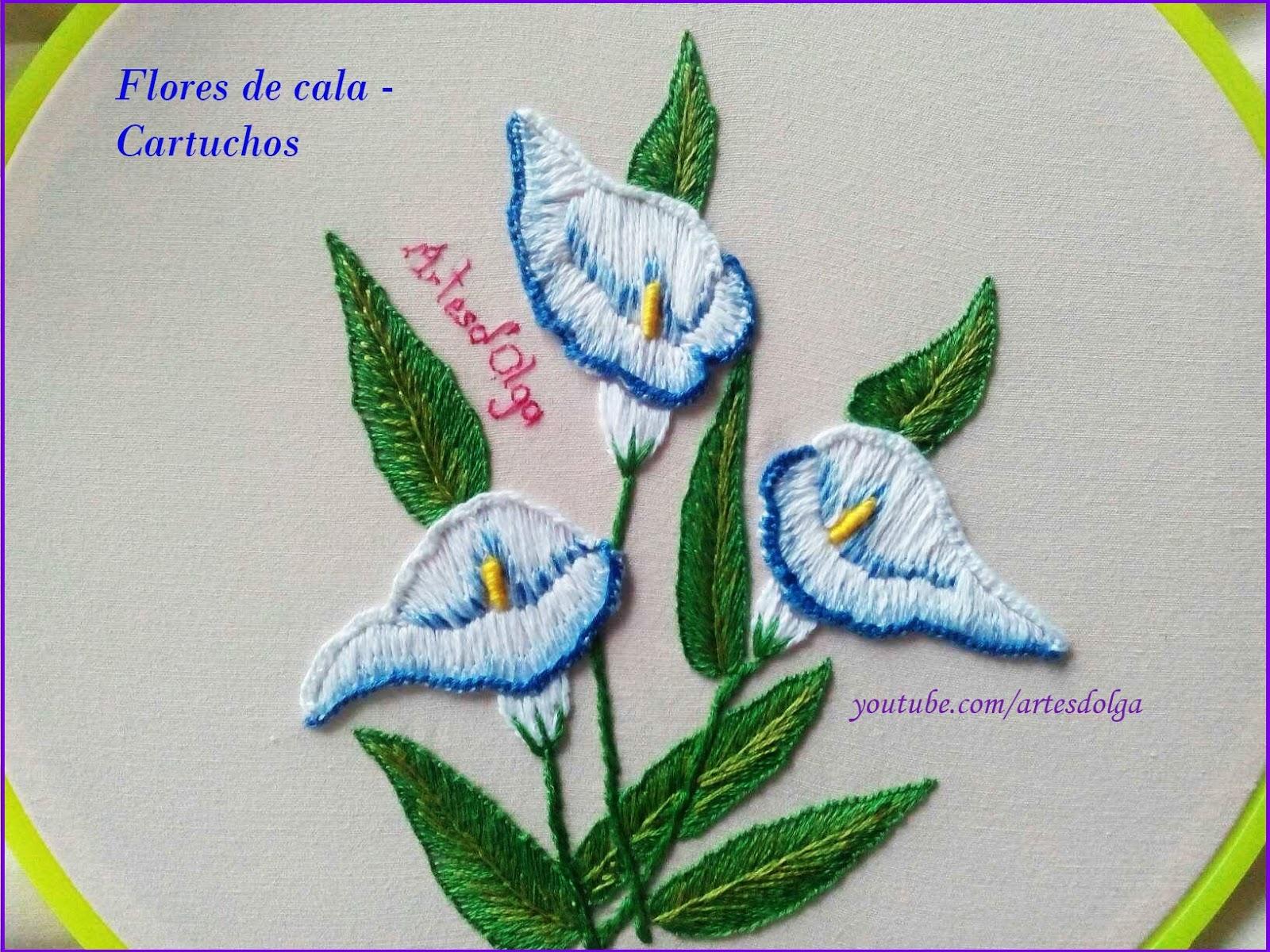 Artesd\'Olga: Bordados a mano: Flor de Cala – Alcatraz – Cartucho ...