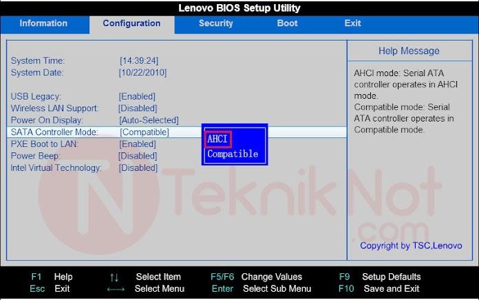 Lenovo Bios Sata Modu Ekranı