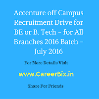 Accenture Recruitment or off Campus Drive for Fresher's for the Associate IT Operations Vacancies for BE or B. Tech – for All Branches of 2016 Batch over India in July 2016