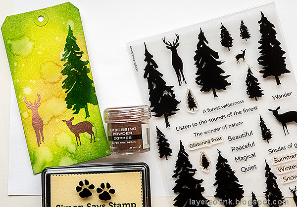 Layers of ink - Spring Forest Inky Tag Tutorial by Anna-Karin Evaldsson. Stamp deer from Simon Says Stamp Forest Scenery.