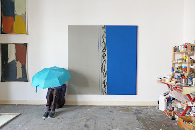 """Michel Carmantrand TOPICAL RAIN (or The crownless king), 185x185cm (72.8x72.8""""), diluted lacquer paint, acrylic paintand oil on canvas, 2021."""