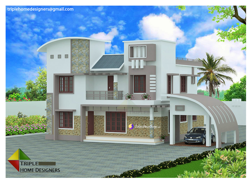 2705 sqft Modern curve roof Kerala home design by Triple Home - home designers