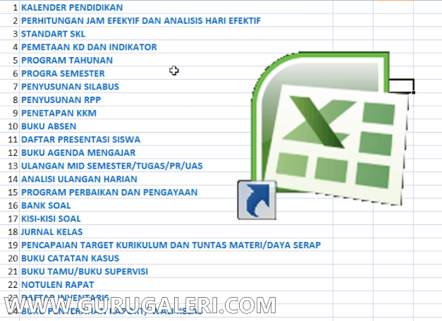 Administrasi Guru Lengkap dalam Format Excel