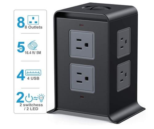 SMALLRT 8 Outlet 4 USB Ports Power Strip