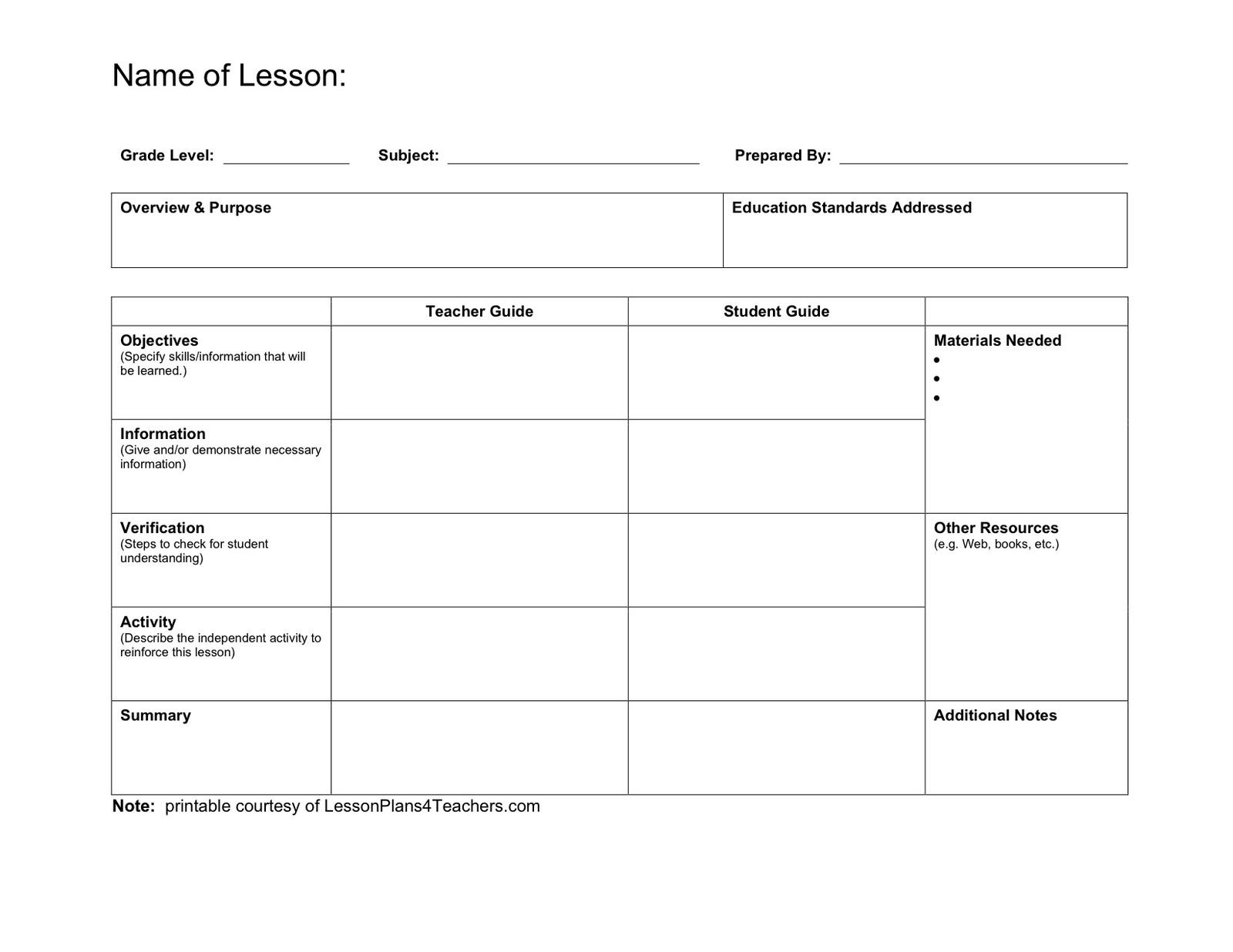 Lesson plans for teachers lessonplans4teachers lesson for Constructivist lesson plan template