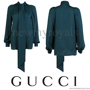 Queen Maxima wore Gucci Green Silk Shirt blouse, Natan Earrings