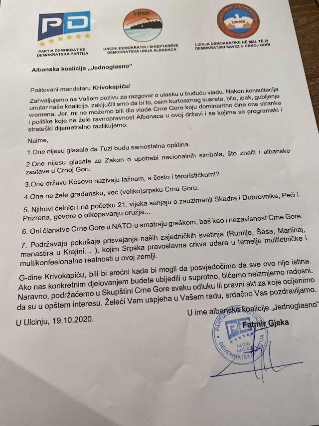 """Albanska koalicija """"Jednoglasno"""" odbila da bude dio nove vlasti"""