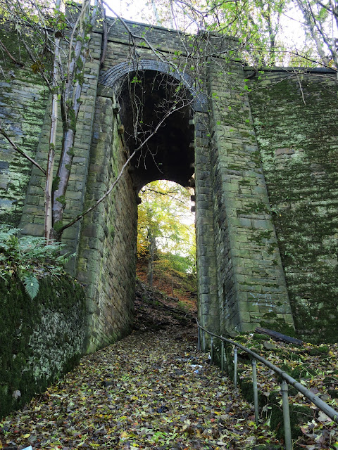 Path in woods under tall railway arch. 2nd November 2020