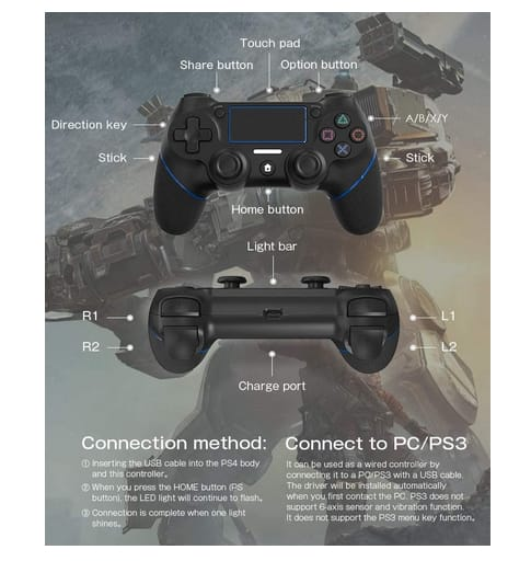 A-VIDET 2021 Edition Wireless Controller for Ps4