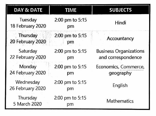 UP-Board-Intermediate-Commerce-Stream-time-table-2020