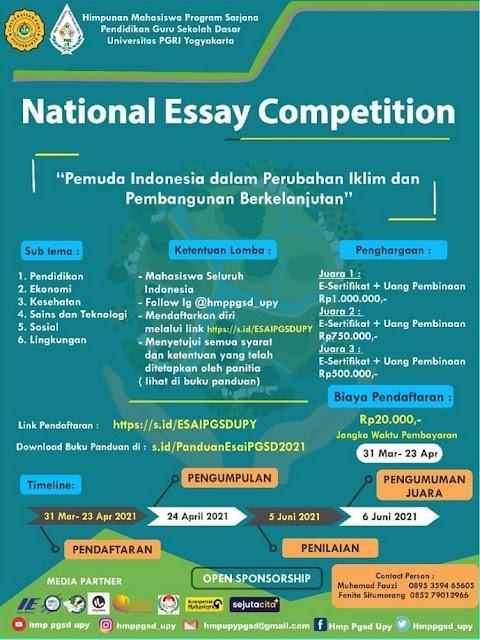 """National Essay Competition)dengan mengusung tema... 📄 *""""Pemuda Indonesia dalam Perubahan Iklim dan Pembangunan Berkelanjutan"""""""