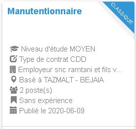 Manutentionnaire TAZMALT - BEJAIA