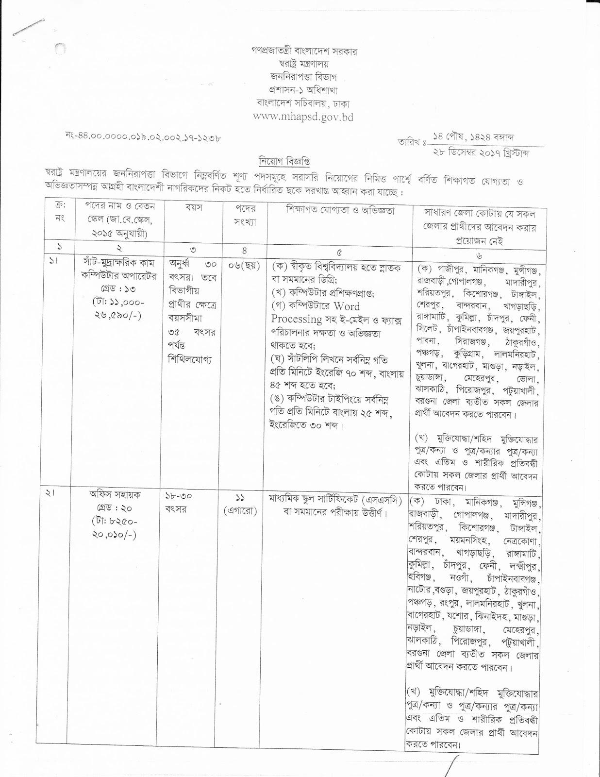 Public Security Division (PSD) Job Circular 2018