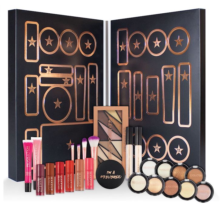 Contents of the Makeup Revolution Beauty Advent Calendar for Holiday 2017 - ships worldwide.