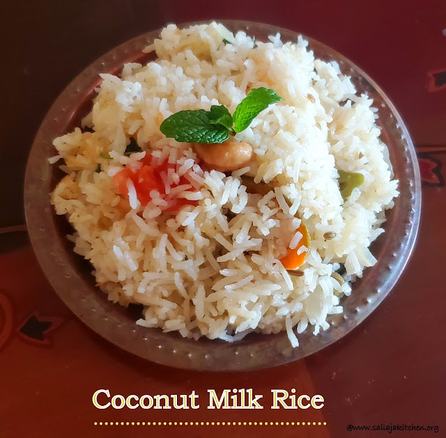 images of Birinji Recipe / Rice / Coconut Milk Rice / Thengai Paal Sadam / Coconut Milk Biriyani