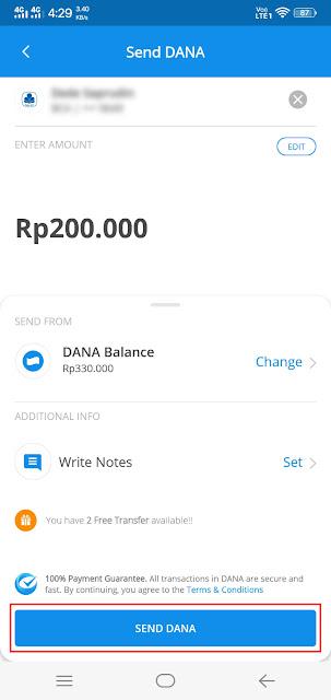 Transfer uang lewat aplikasi DANA