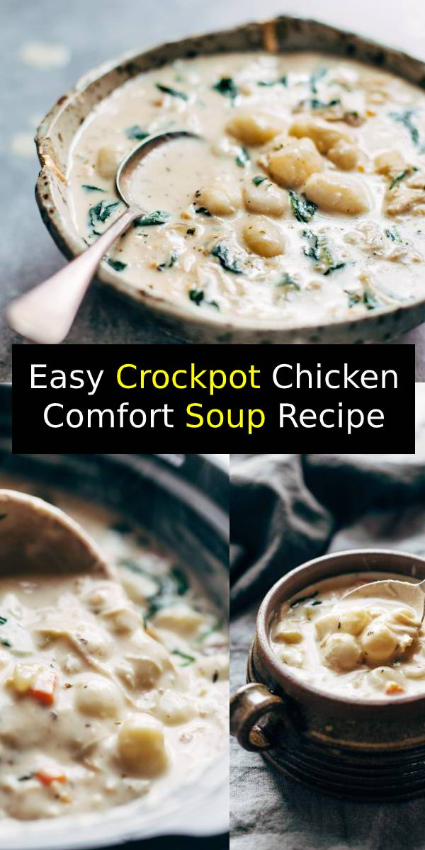 Easy Crockpot Chicken Comfort Soup – easy, comforting, lots of vegetables, no heavy cream. Perfect with crusty bread and a green salad. #chicken #soup #crockpot #comfortfood #dinner