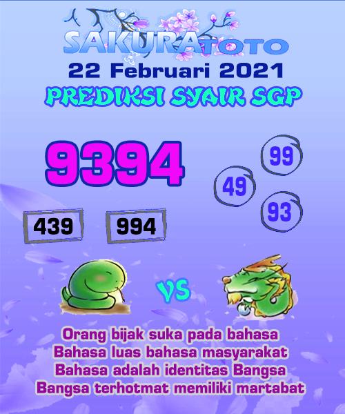 Syair Sakuratoto SGP Senin, 22 Februari 2021.